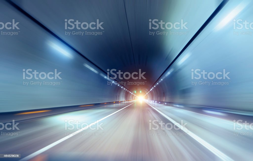 Speeding Through Tunnel stock photo