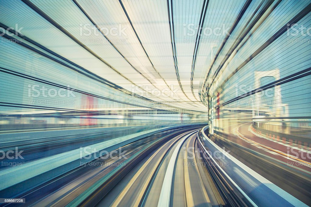 Speeding towards Rainbow Bridge, Tokyo stock photo