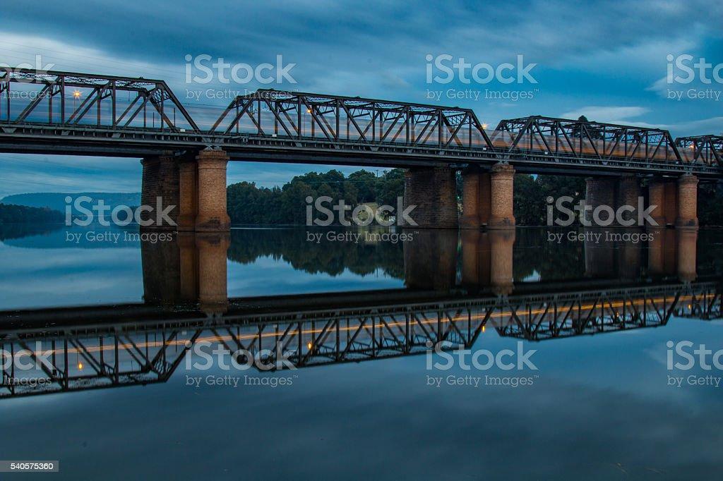 Speeding Train Reflections stock photo