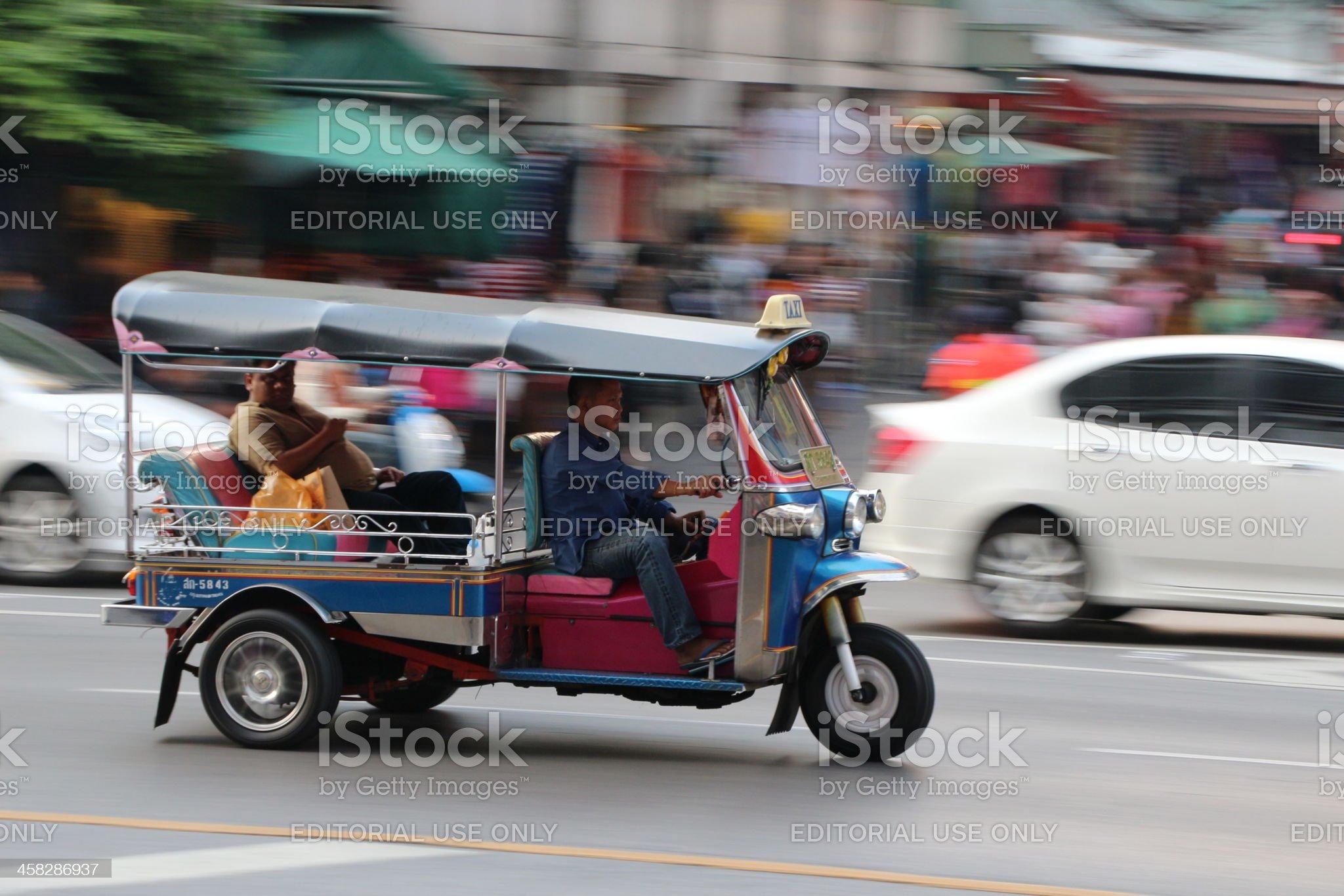 Speeding tuktuk in Bangkok royalty-free stock photo