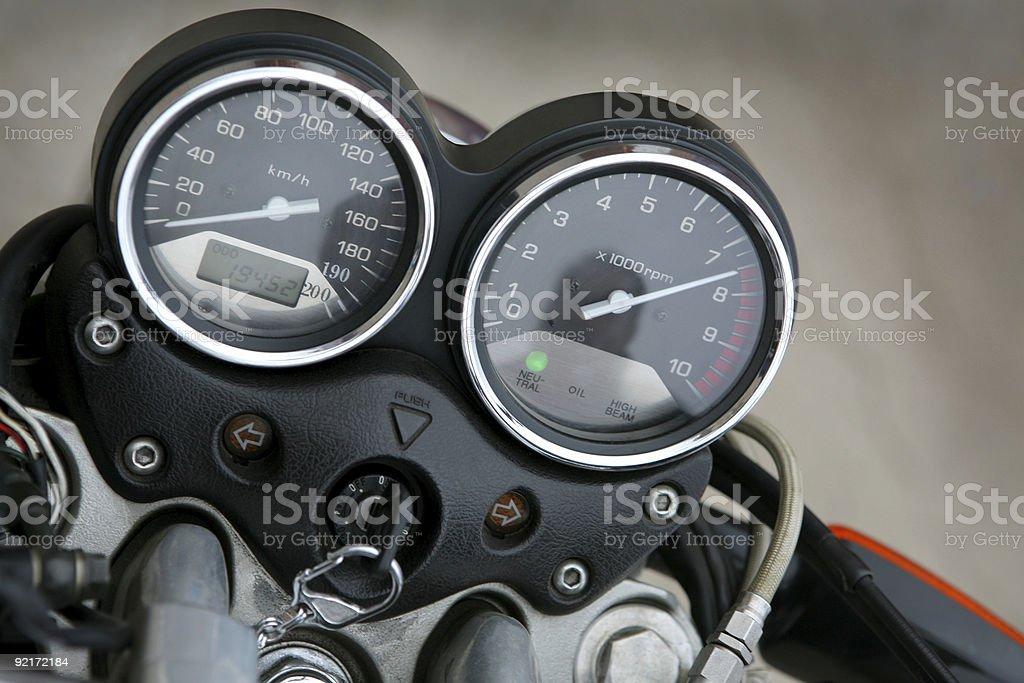 Speedmeter and tachometer stock photo