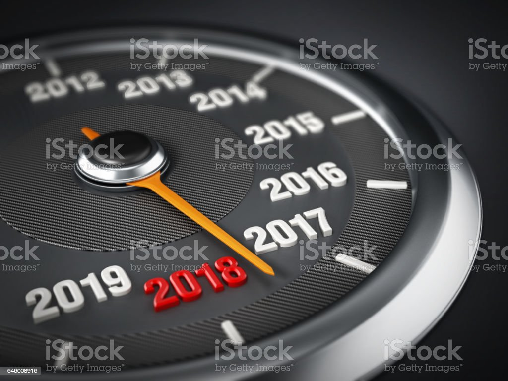 Speedmeter needle moving from the year 2017 to red 2018 vector art illustration
