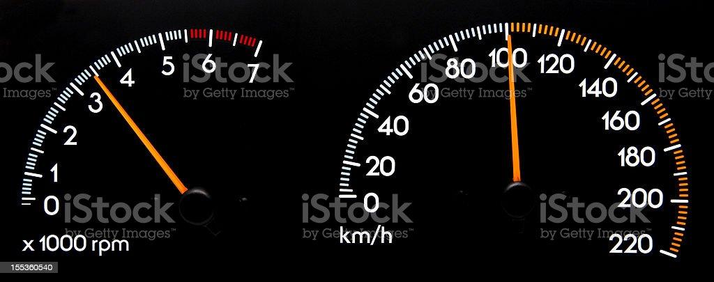 Speedometer 100 kmh - Tachometer stock photo