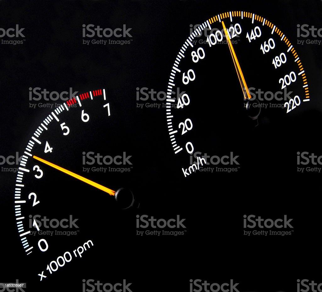 Speedometer 110 kmh - Tachometer stock photo