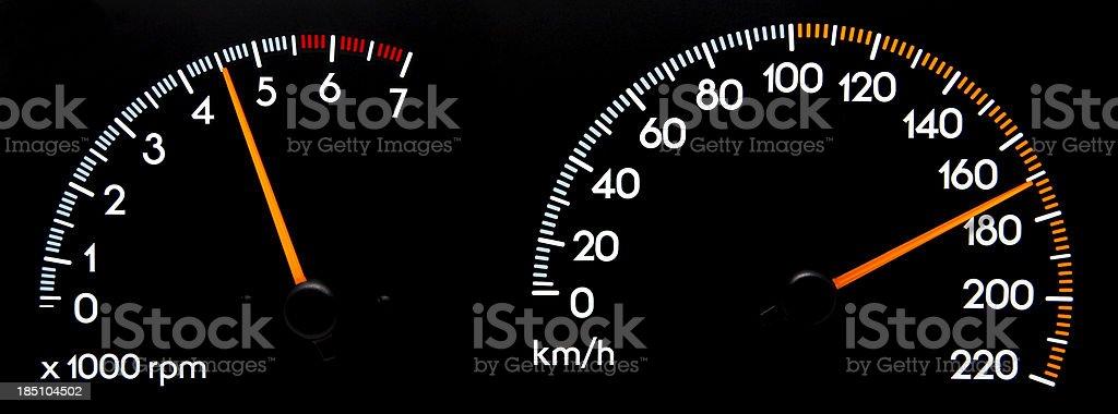 Speedometer 170 kmh & Tachometer stock photo