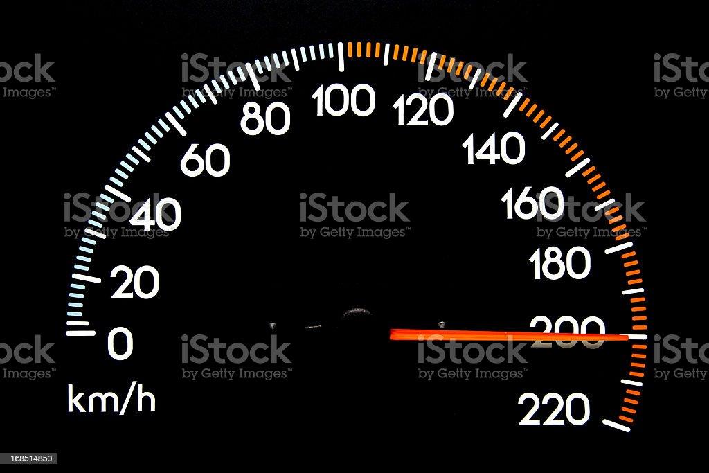 Speedometer 200 kmh stock photo