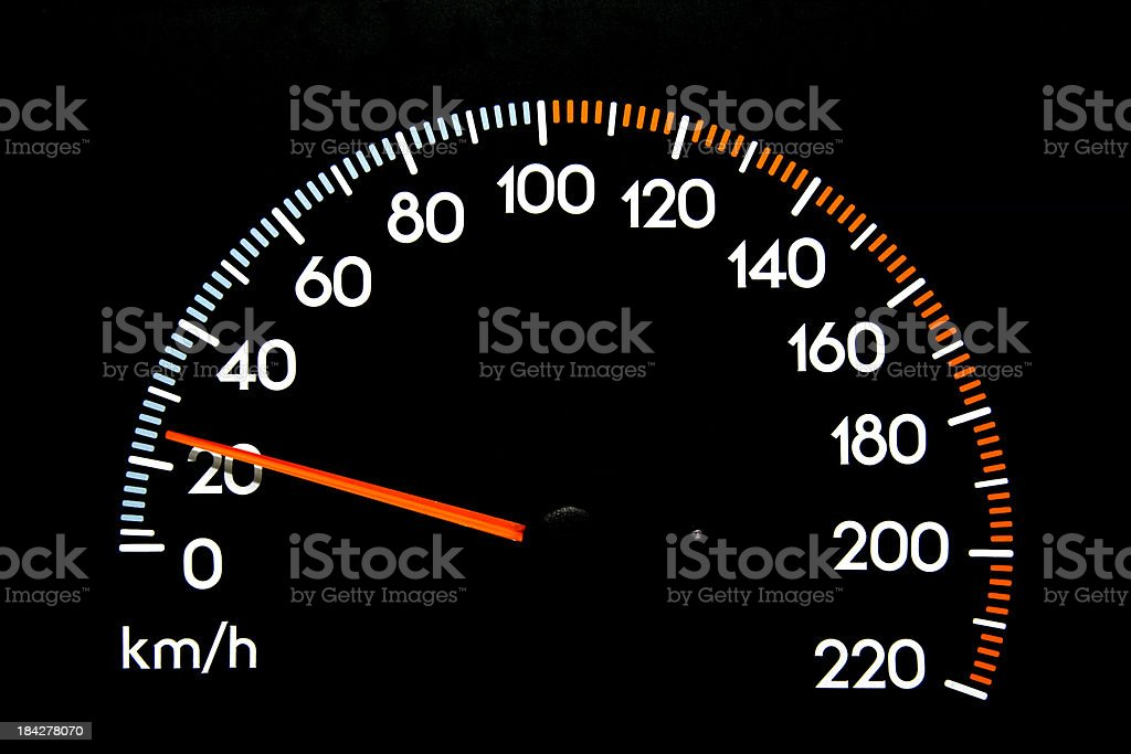 Speedometer 25 kmh stock photo