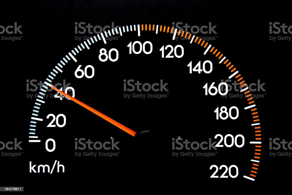 Speedometer 40 kmh stock photo