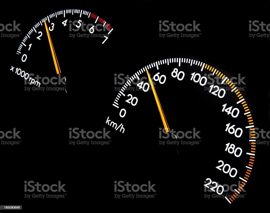 Speedometer 50 kmh - Tachometer stock photo