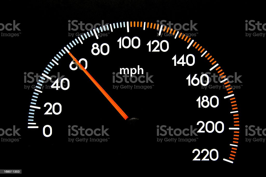 Speedometer 60 mph stock photo
