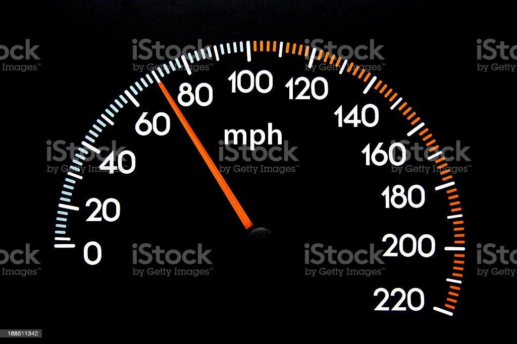 Speedometer 70 mph stock photo