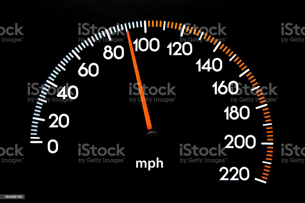 Speedometer 90 mph stock photo