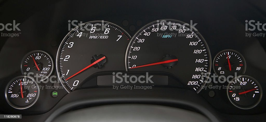 Speedometer and Gauges stock photo