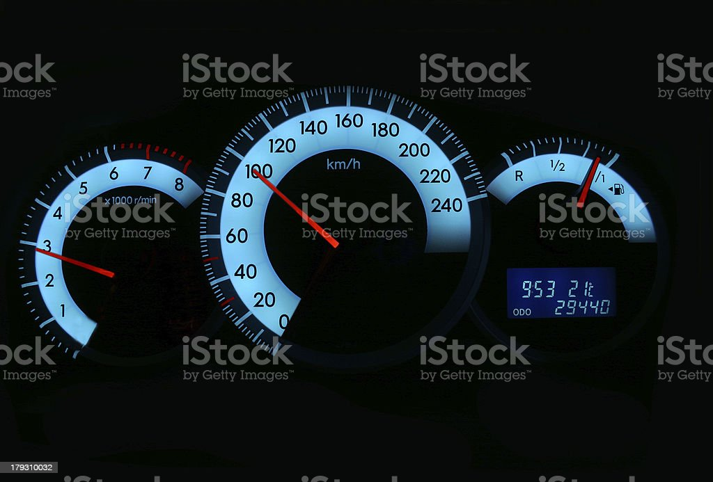 Speedometer and gauges stock photo