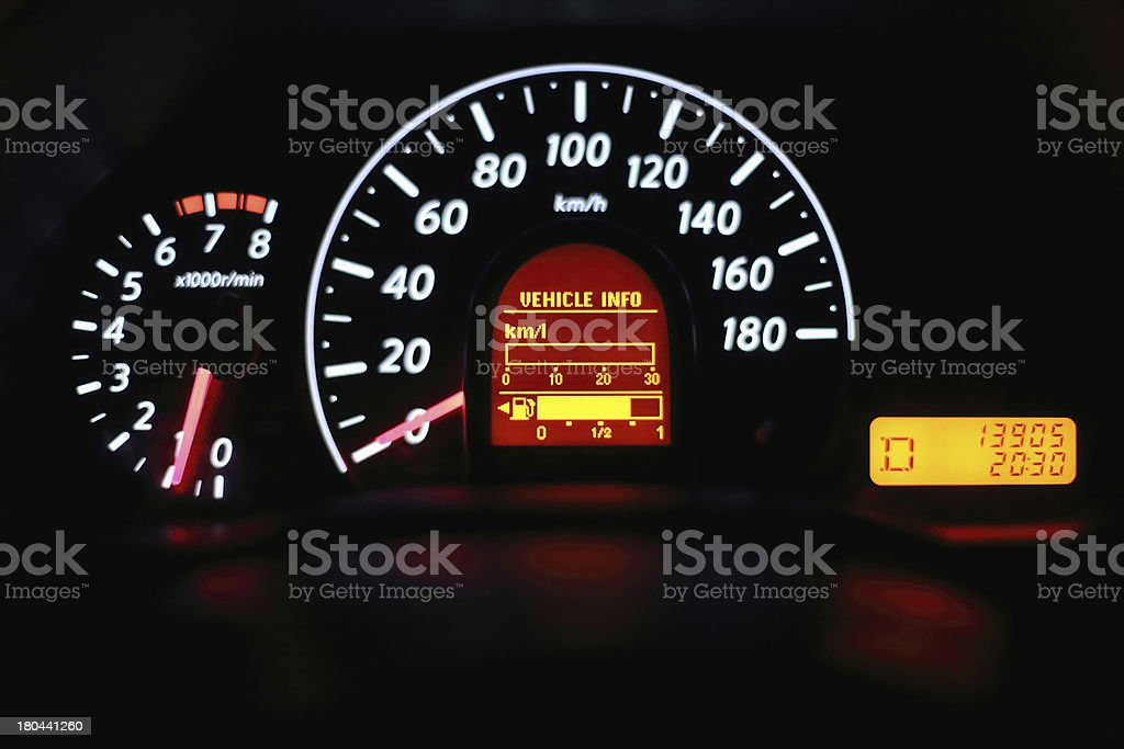 Speedometer and other gauges in the car royalty-free stock photo