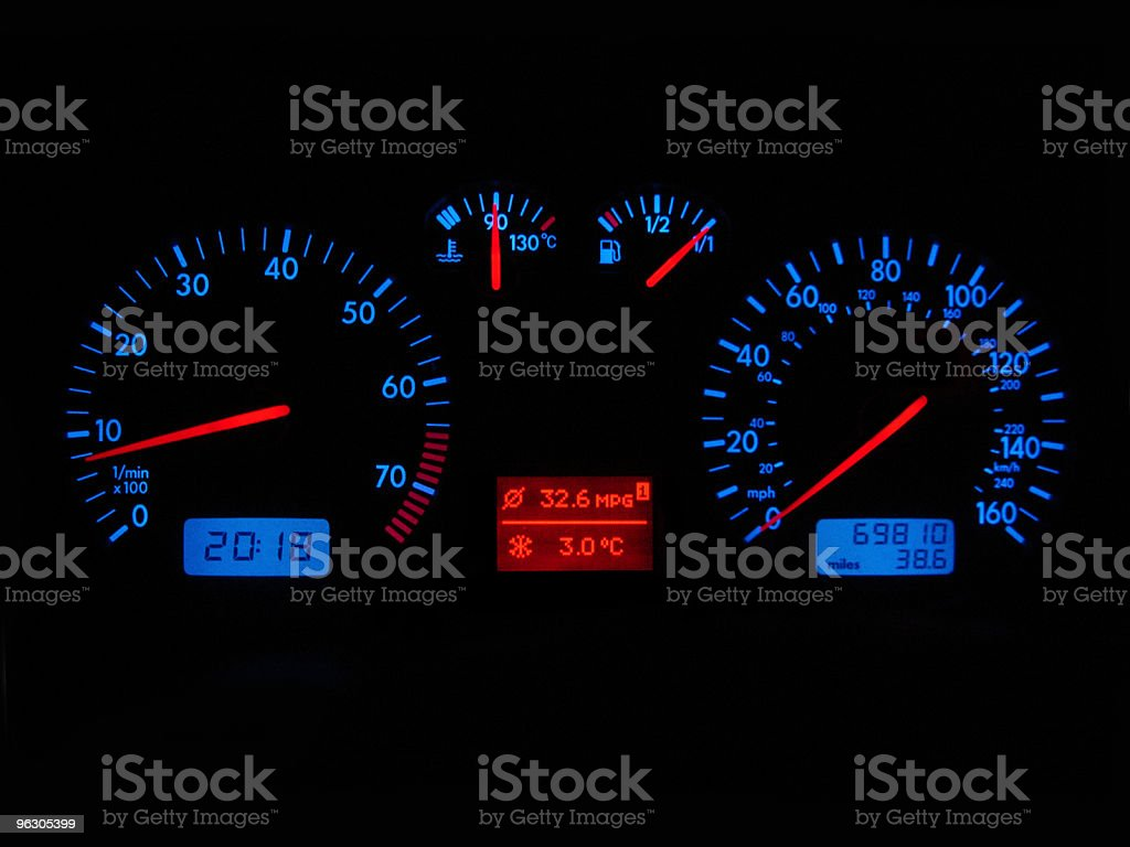 Speedometer And Rev Counter stock photo