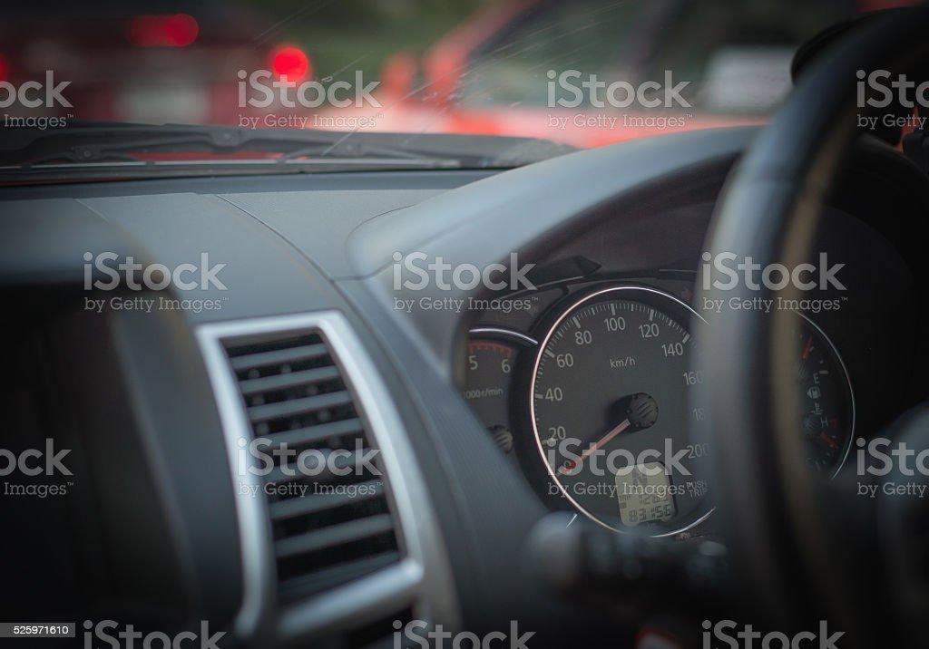 Speedometer and tachometer gauges,Auto interior detail. stock photo