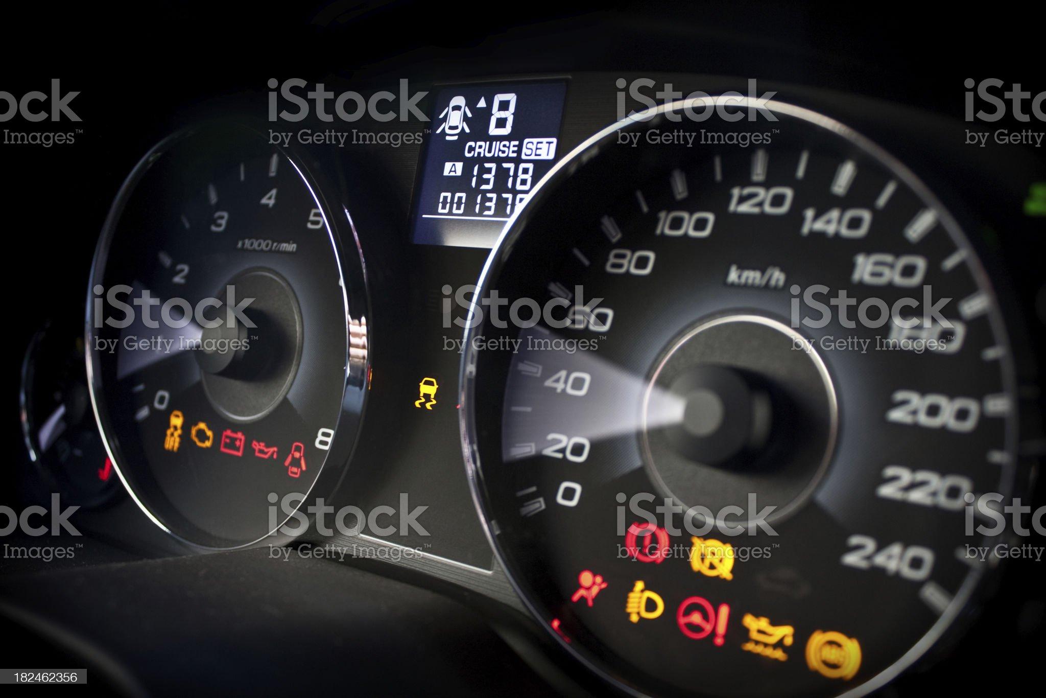 Speedometer and tachometer royalty-free stock photo