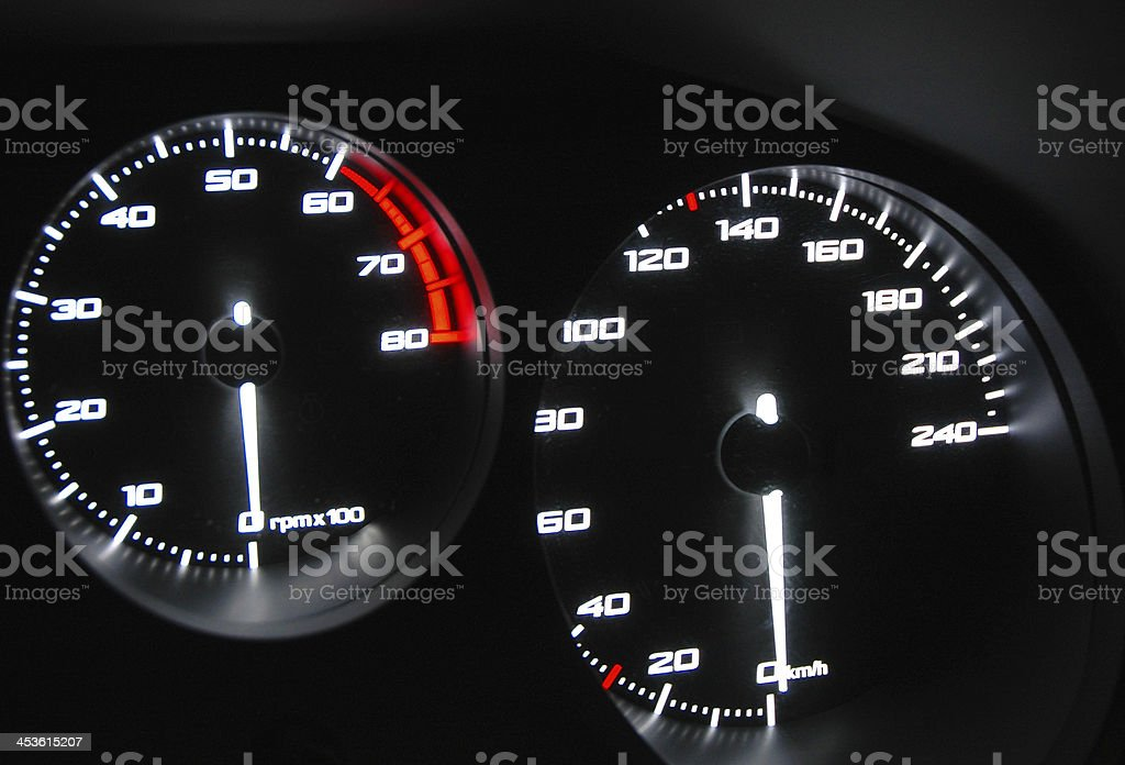 Speedometer and tachometer royalty-free stock photo