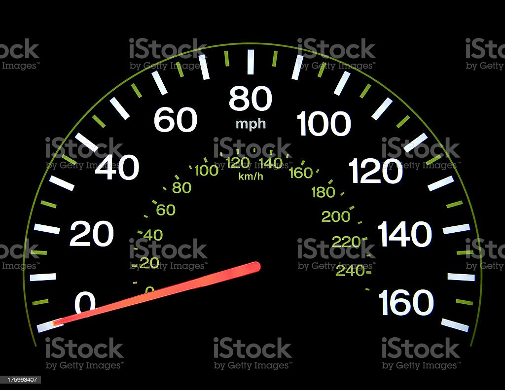 Speedometer at 0 mph royalty-free stock photo
