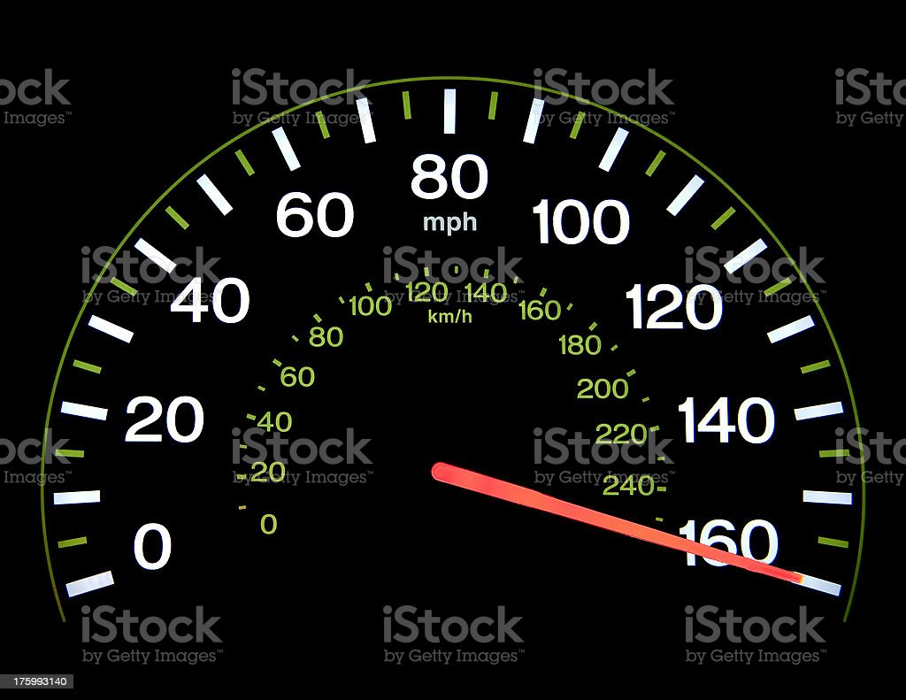 Speedometer at 160 mph royalty-free stock photo