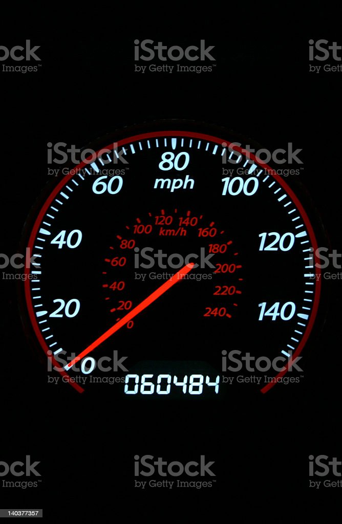 speedometer at night royalty-free stock photo