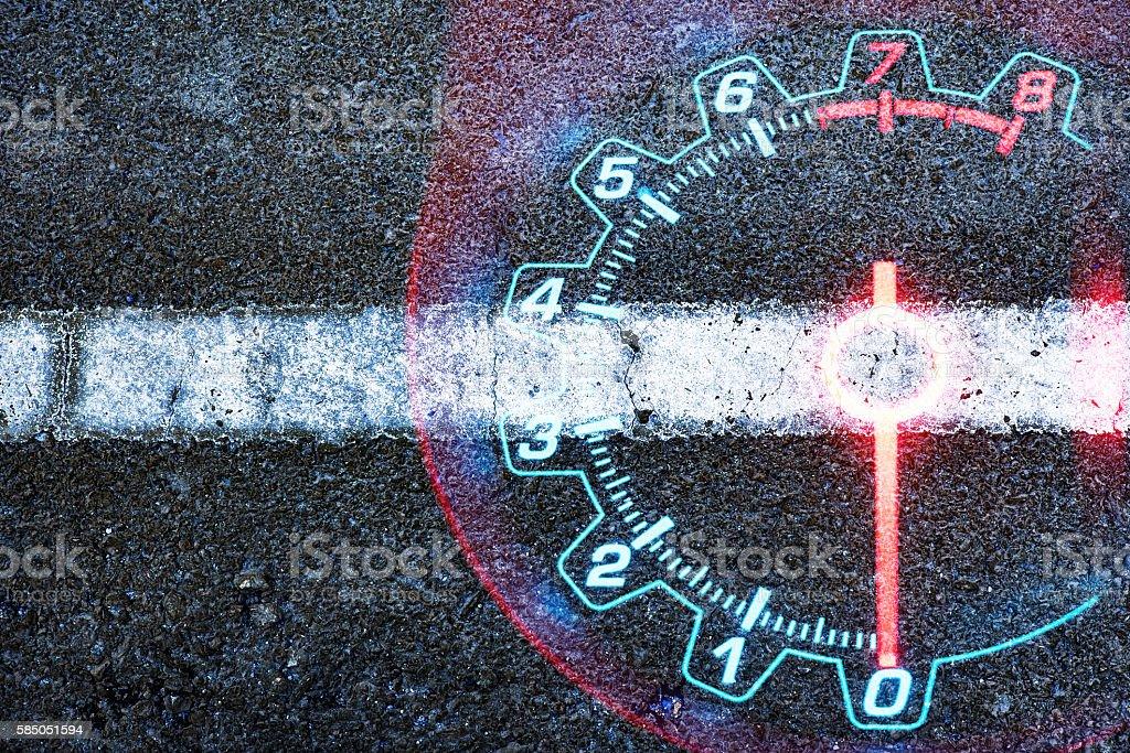 Speedometer car on black road textured stock photo