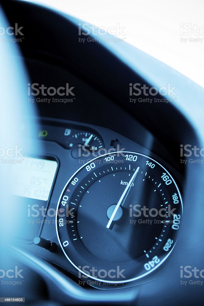 Speedometer close-up with excesive speed royalty-free stock photo
