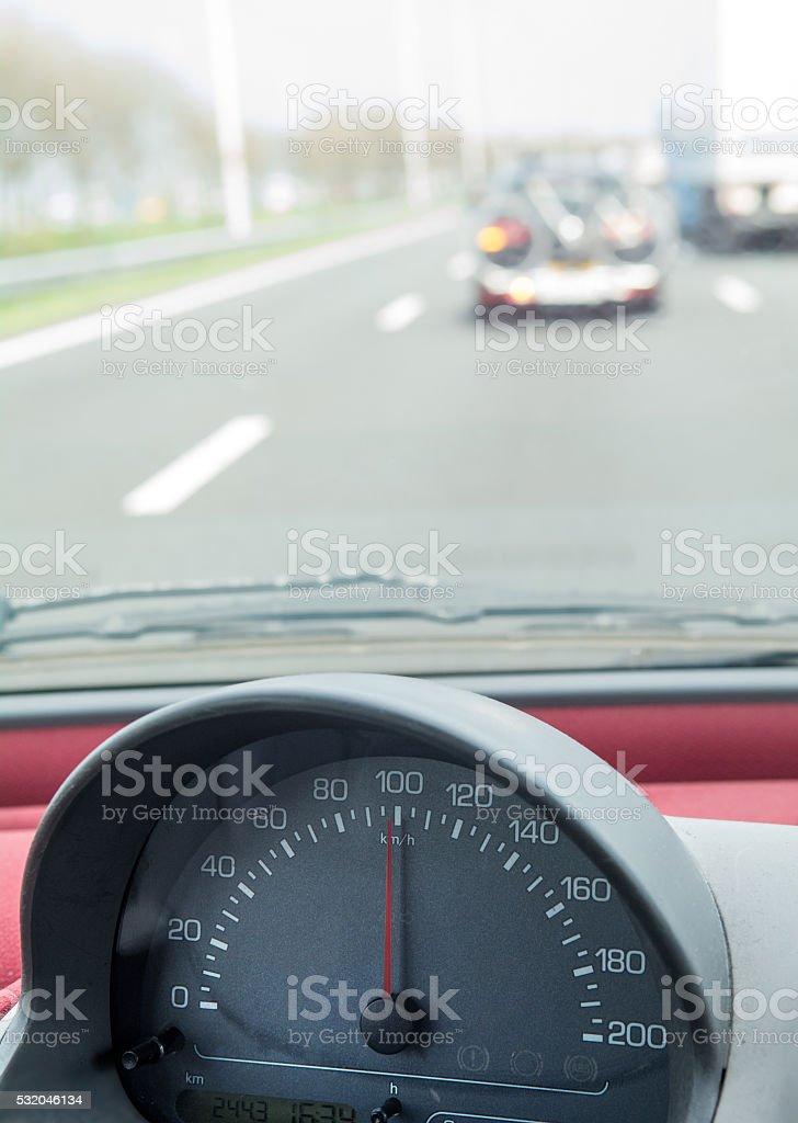 speedometer dial 100 km/h stock photo