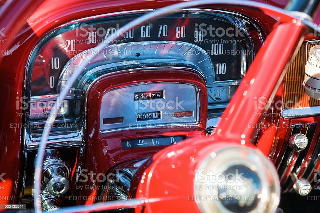 Speedometer in a classic American car stock photo