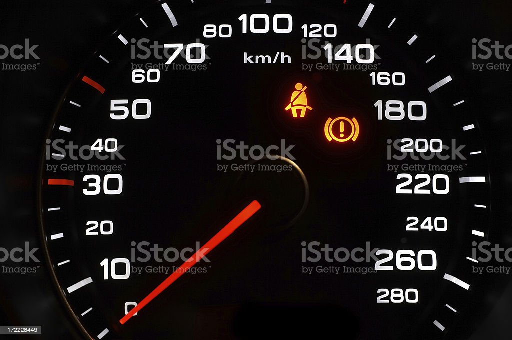 Speedometer in a sports car royalty-free stock photo