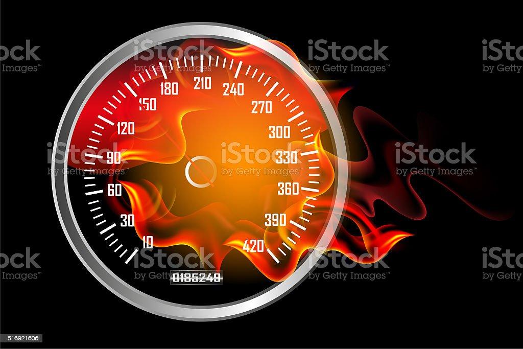 Speedometer in Fire stock photo