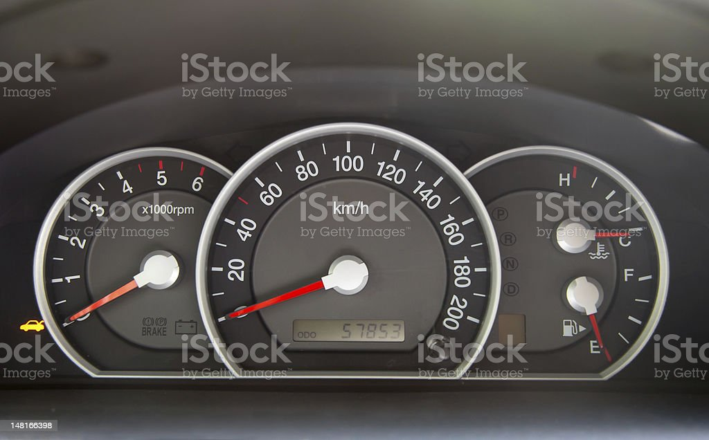 Speedometer  in the car royalty-free stock photo