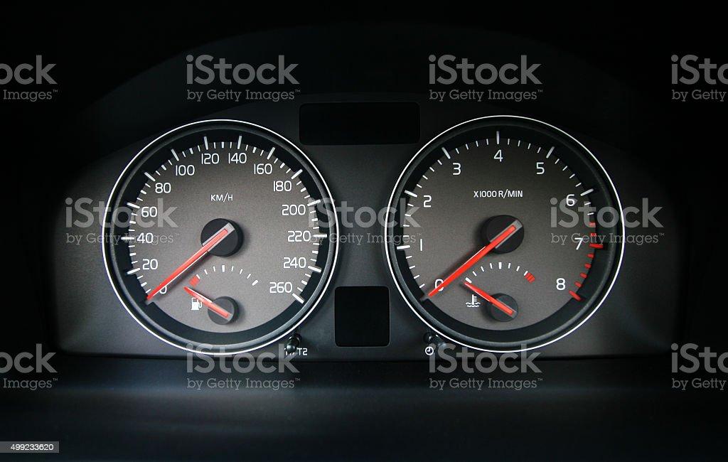 Speedometer in the car stock photo