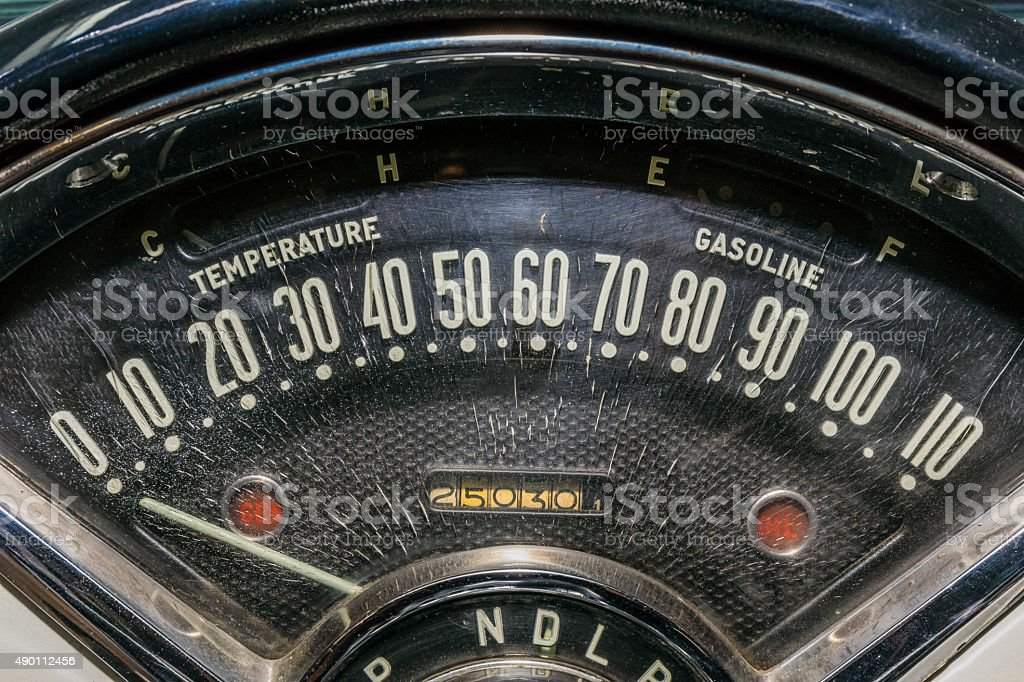 speedometer odometer old car stock photo