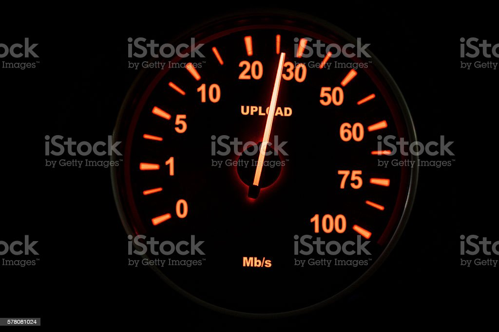 Speedometer of uploading process stock photo