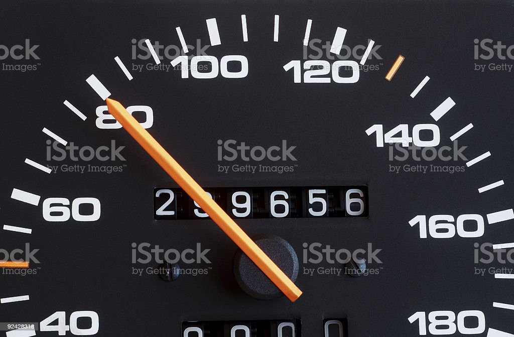 A speedometer on 80 kilometers per hour stock photo