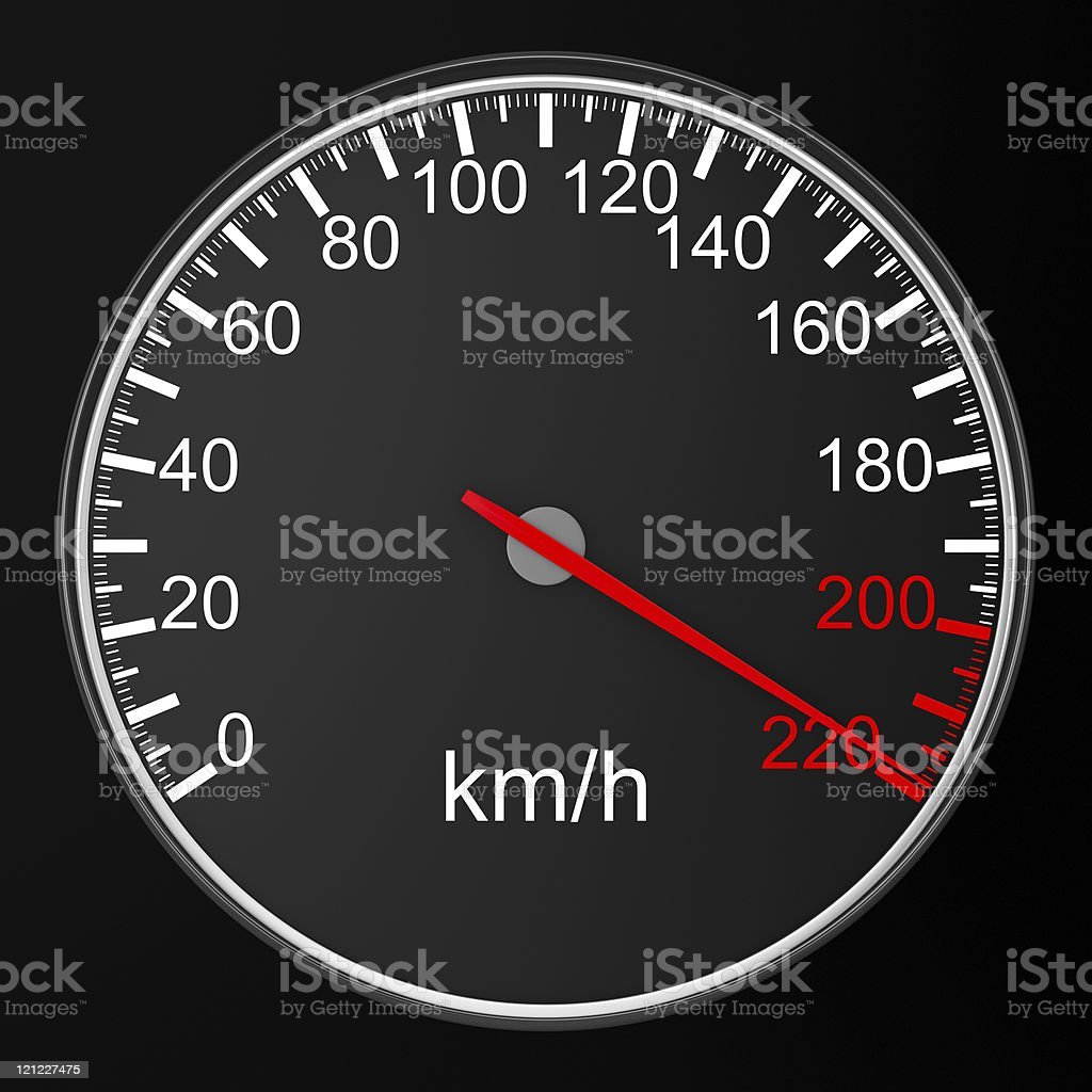 speedometer on black background. 3D image royalty-free stock photo