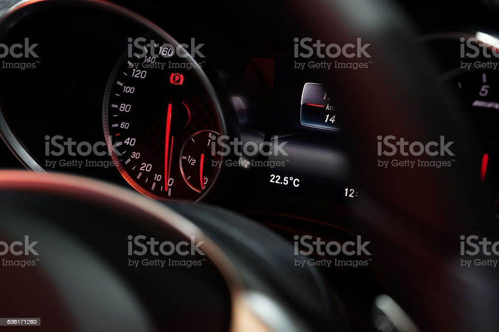 Speedometer on Dashboard of a car. stock photo