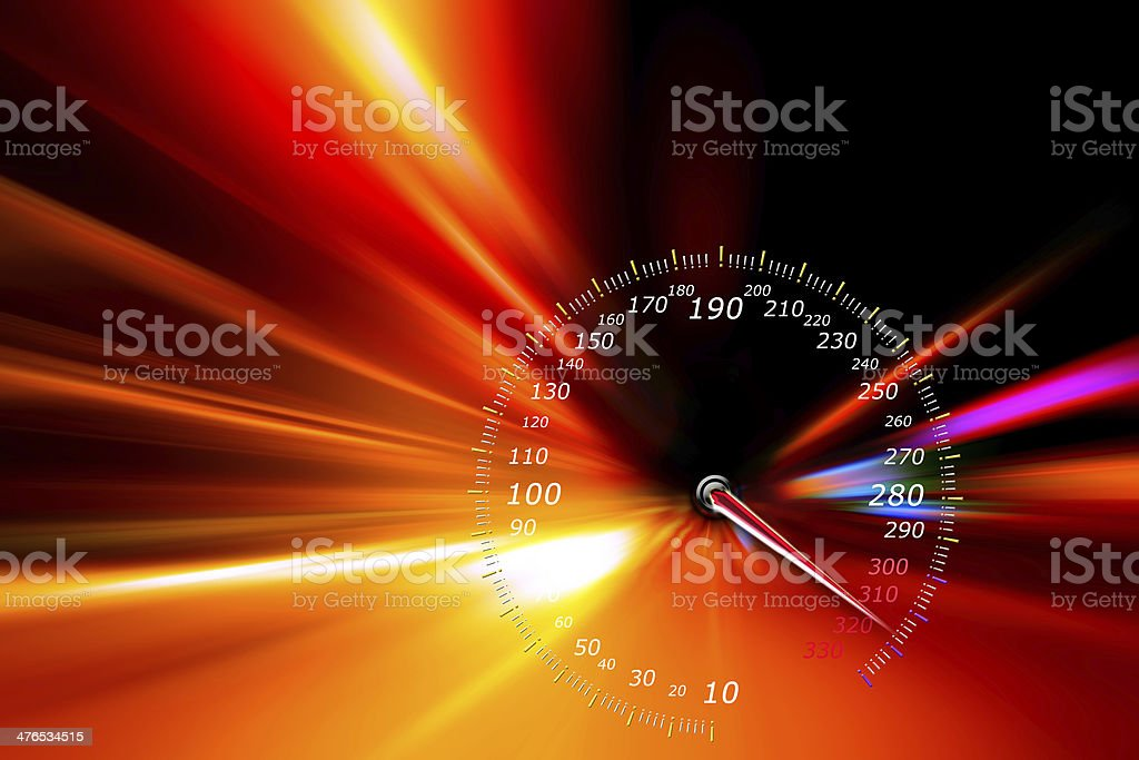 speedometer on night road stock photo