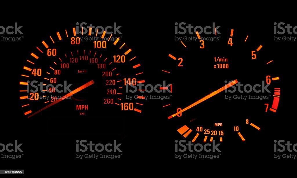 Speedometer Orange royalty-free stock photo