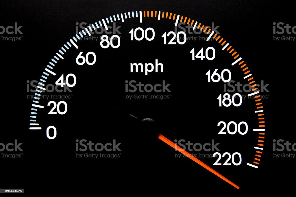 Speedometer (mph) stock photo