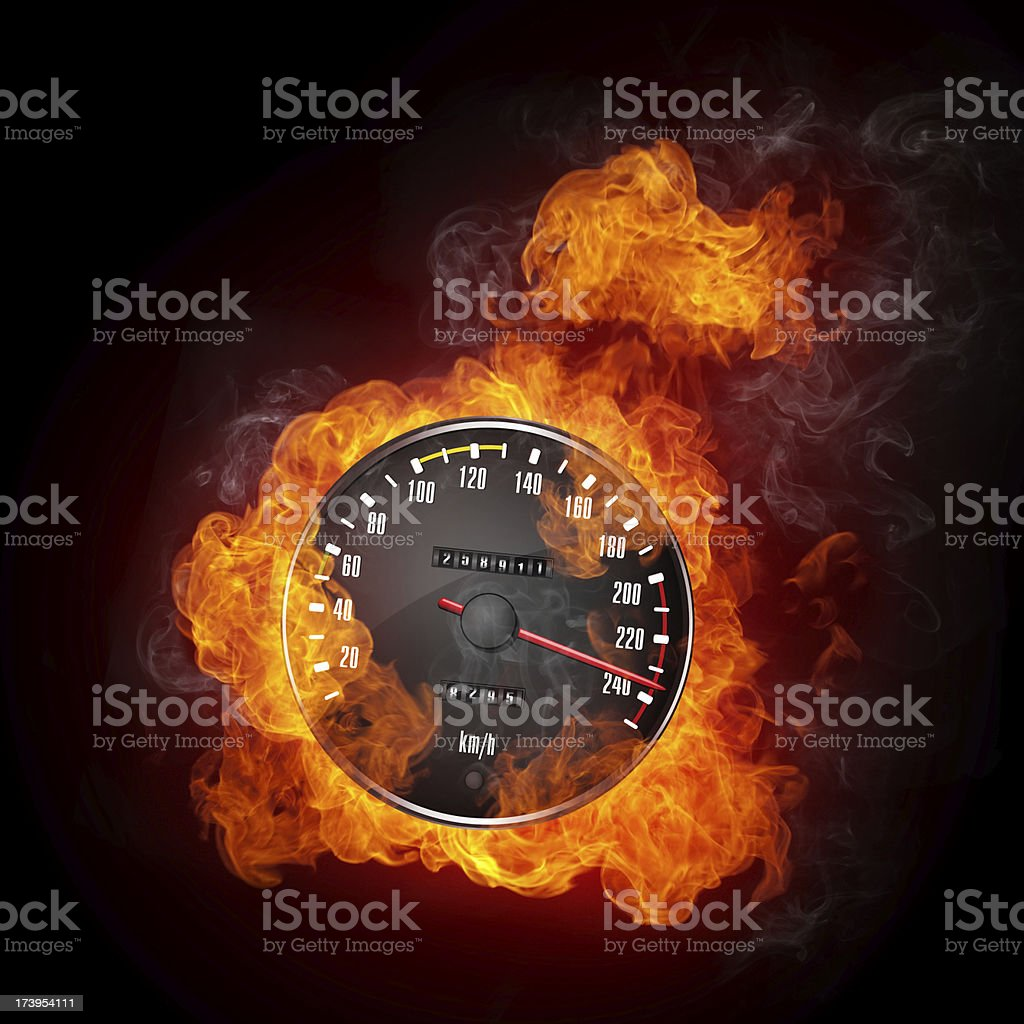 Speedometer showing 235 mph and flames coming from behind it stock photo