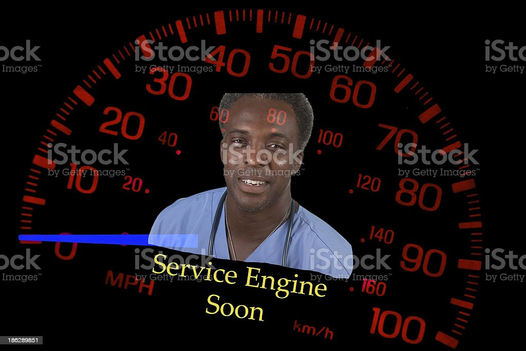 Speedometer with service engine light and mechanic warning stock photo