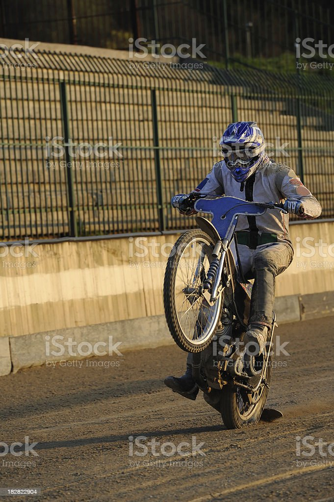 Speedway racer performance stock photo