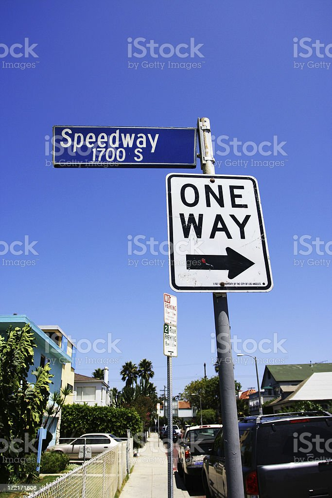 Speedway Street sign in Venice Beach, California royalty-free stock photo