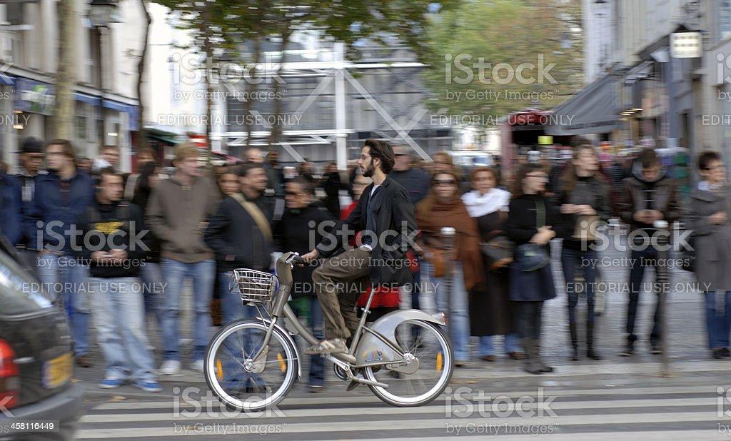 Speedy cyclist stock photo