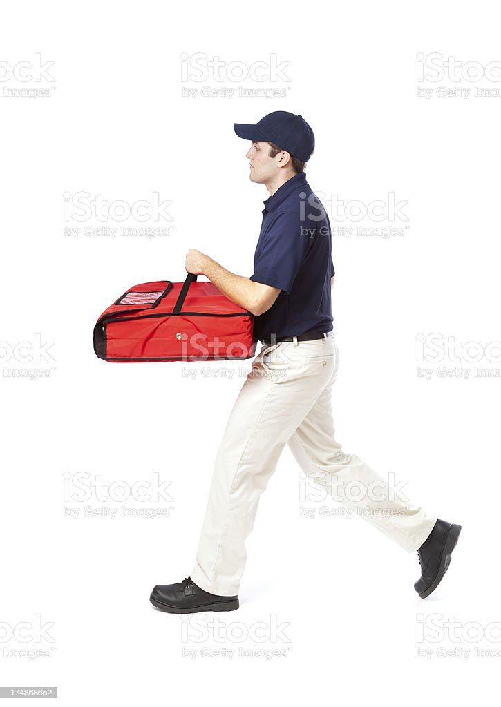 Speedy Running Pizza Delivery Man on White Background stock photo