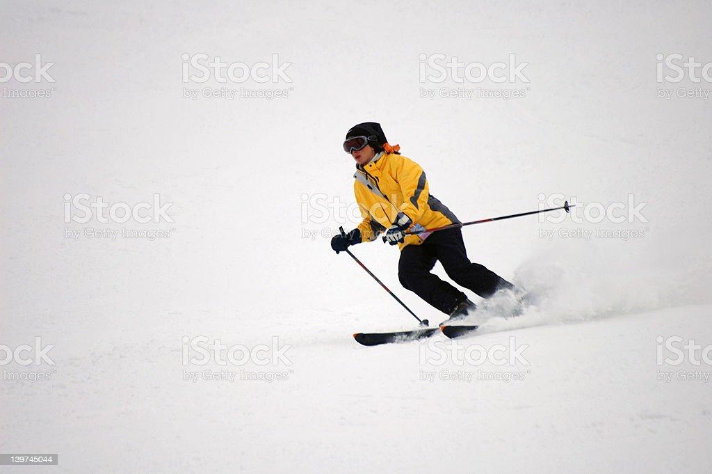Speedy skier. stock photo