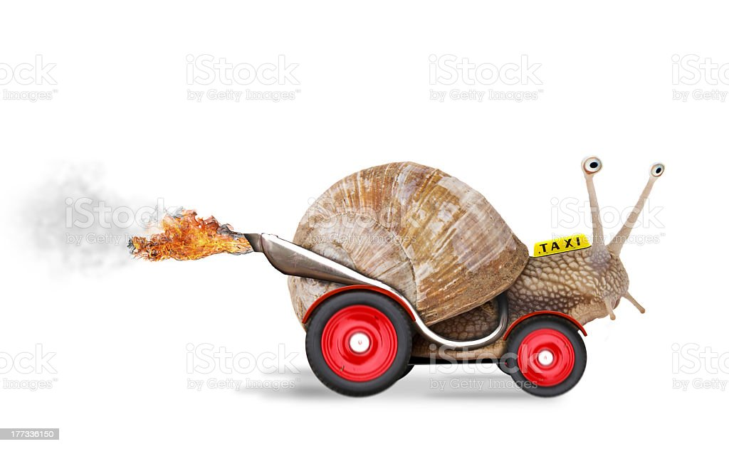 Speedy snail graphic with wheels and hot rod features stock photo